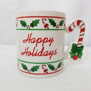 Vintage Christmas Holiday Candy Cane Coffee Mug